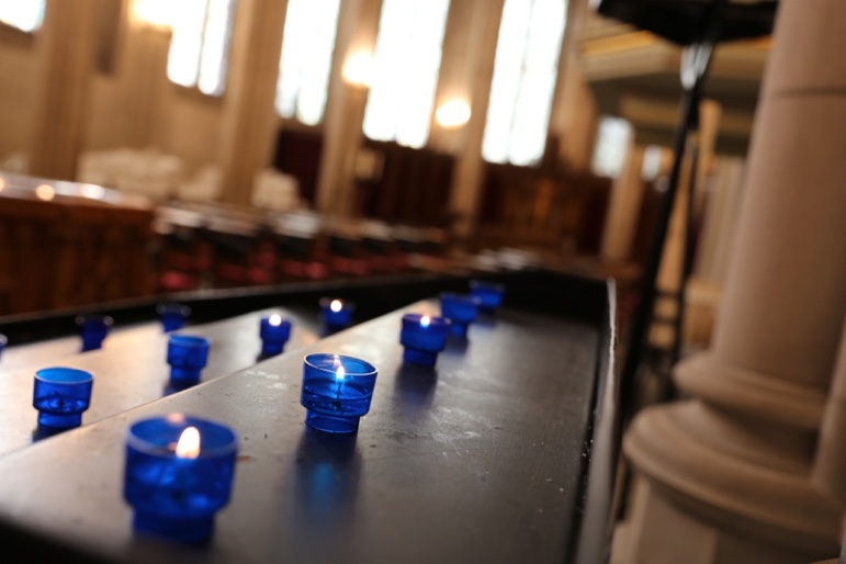 Blue candles in a church