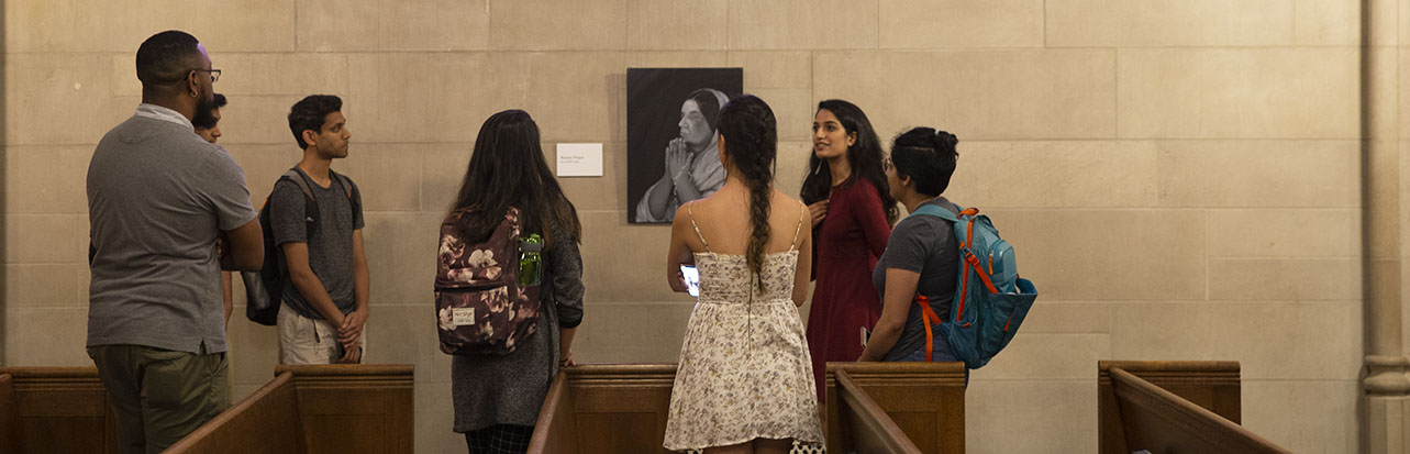 Students view the 'Faith of a Nation' exhibition