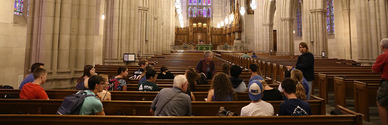 Learning about the architecture of Duke Chapel