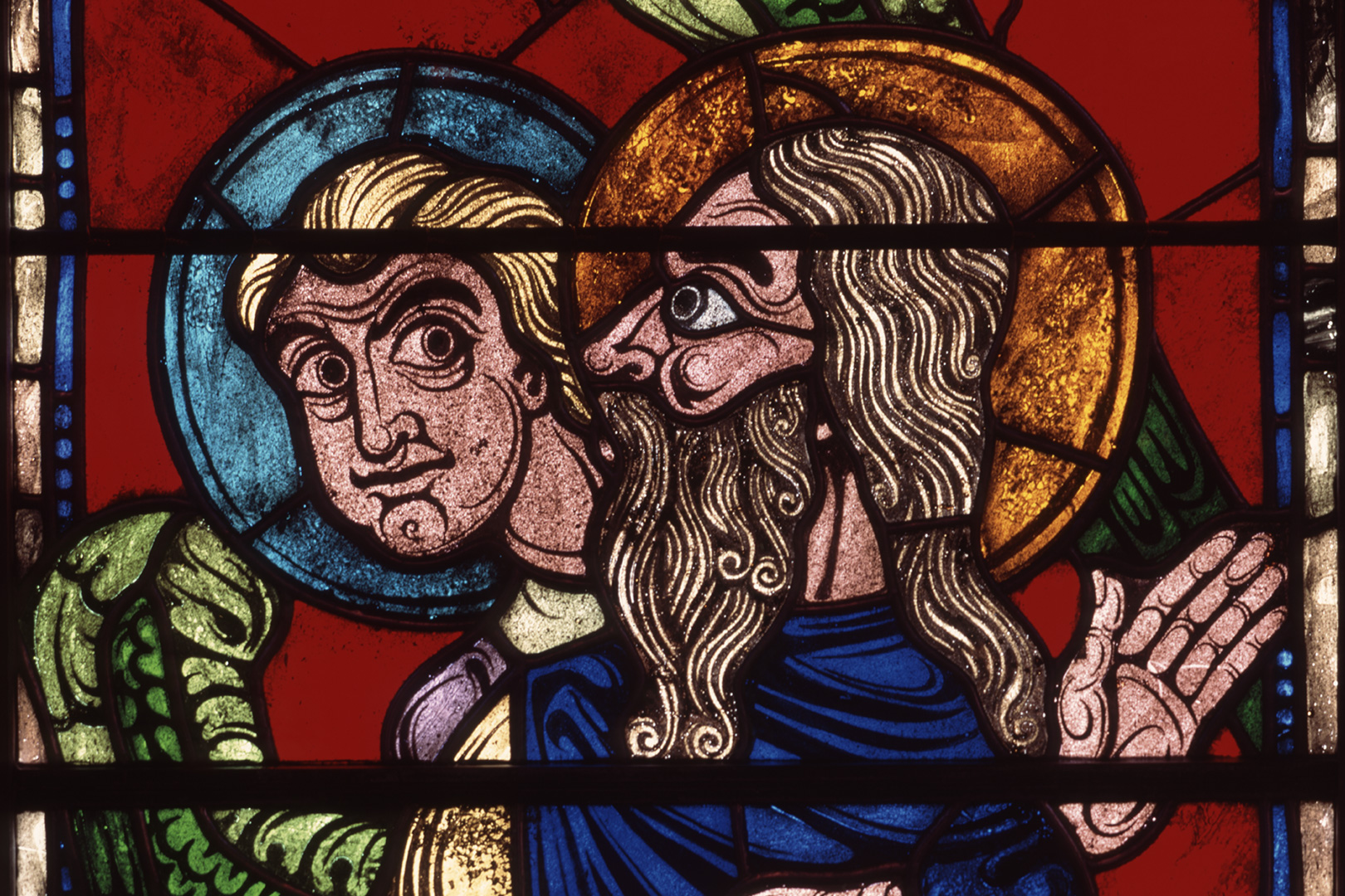 Tobit with Tobias and Raphael stained glass