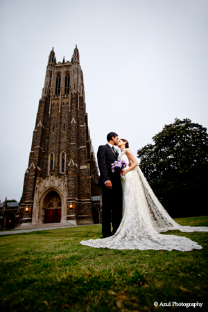Bride And Groom In Front Of Chapel