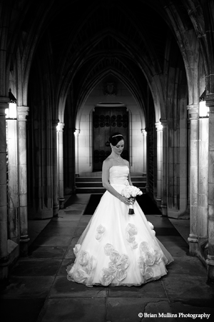 Duke Chapel Bride in Side Arcade