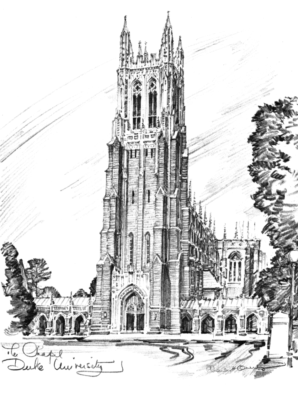 Download A Sketch Of Duke Chapel To Incorporate Into Your Wedding Program