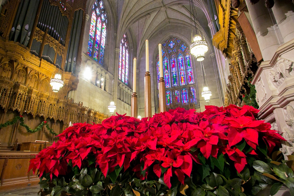 Duke Chapel decorated for Christmas