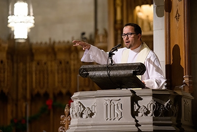 """Chapel Dean Luke A. Powery preaches during """"The Marvel of This Night."""""""