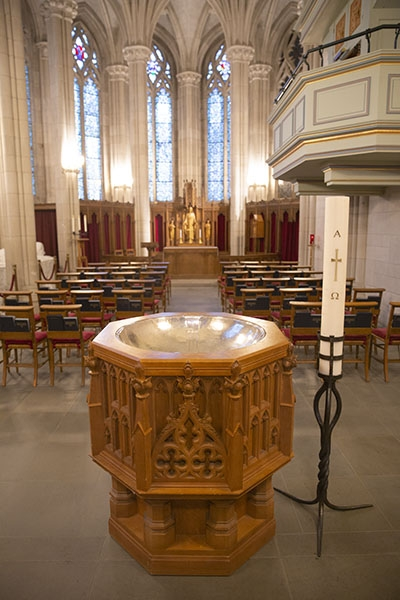 Baptismal font in Memorial Chapel
