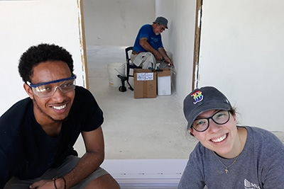 Students working on a church building in Costa Rica