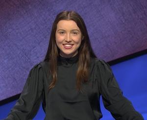 """Grace Jeffrey, T '21, on the set of """"Jeopardy!"""""""