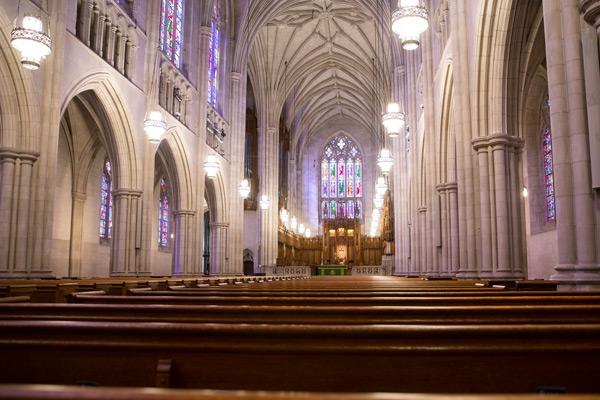 The main sanctuary of Duke Chapel