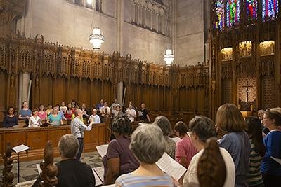 A choir rehearsal in the Chapel