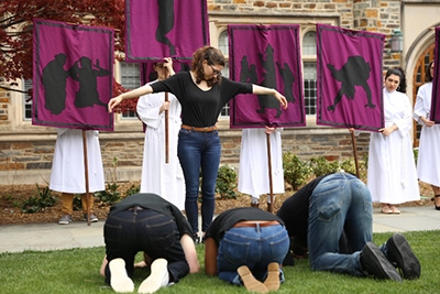 Procession of the Stations of the Cross on Chapel Quad