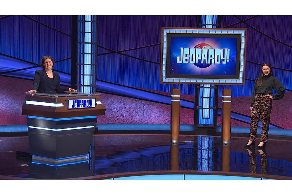 "Grace Jeffrey, T '21 (right), on ""Jeopardy!"" with host Mayim Bialik."