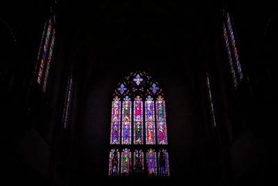 Chapel windows in dark